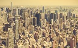 Retro stylized aerial view of Manhattan. Royalty Free Stock Photo