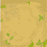 Retro stylized background. With green leaves Royalty Free Stock Image