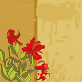 Retro stylized background. With red flowers Royalty Free Stock Image