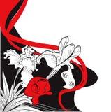 Retro stylized background with iris flowers. Contrast illustration Royalty Free Stock Photos