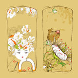 Retro stylized banners. With flowers and girl Stock Images