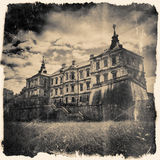 Retro stylized in black and white colors Pidhirtsi Castle, villa Royalty Free Stock Image