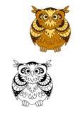 Retro stylized brown owl bird mascot Stock Photos