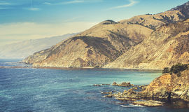 Retro Stylized California Coastline Along Pacific Coast Highway Stock Photography