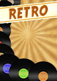 Retro stylized flyer with colorful vinyls Royalty Free Stock Photography