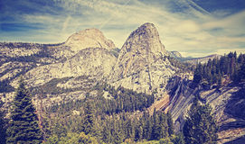 Retro stylized landscape in Yosemite National Park, USA Royalty Free Stock Image