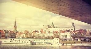Retro stylized panoramic view of Szczecin. Royalty Free Stock Photos