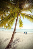 Retro stylized paradise beach, summer postcard. Royalty Free Stock Photography