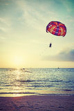 Retro stylized paragliders at sunset, summer adventure concept. Stock Photography