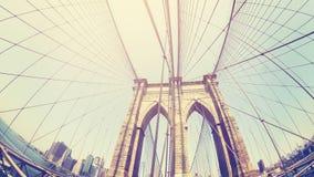 Retro stylized photo of Brooklyn Bridge. Royalty Free Stock Photo