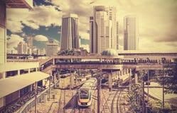 Retro stylized photo of a modern city. Stock Image