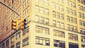 Retro stylized photo of traffic lights in New York City, shallow Royalty Free Stock Photography