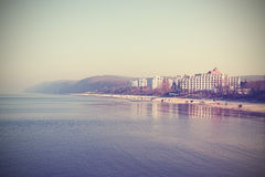 Retro stylized picture of the Baltic seaside. Stock Images