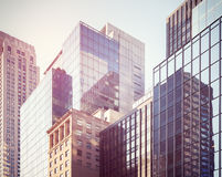 Retro stylized picture of Manhattan buildings, NYC, USA. Stock Images