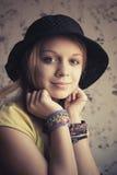Retro stylized portrait of beautiful blond teenage girl Royalty Free Stock Images