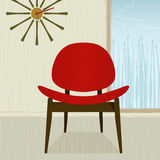 Retro-stylized red chair. Retro-modern red chair and clock; colorful and stylized. Each item is grouped so you can use them independently from the background stock illustration