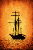 Retro-stylized sailer ship image. Royalty Free Stock Images