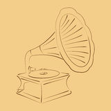 Retro stylized sketched gramophone. Royalty Free Stock Photo