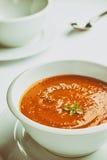 Retro stylized white bowl with tomato soup. Stock Photos