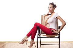 retro stylowa kobieta Fotografia Stock