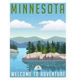 Retro stylowa podróż plakatowy Stany Zjednoczone, Minnestoa Zdjęcia Stock