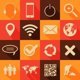 Retro stylowa sieć i mobilne ikony ilustracja wektor