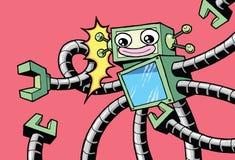 Retro stylowego rocznika szczęśliwy robot z mechanicznymi rękami ilustracji
