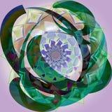 RETRO STYLOWY INDIAŃSKI kwiatu mandala Z okręgami WOKOŁO W CIEMNOZIELONYM, kwiat W plecy W PASTELOWYCH kolorach zdjęcie stock