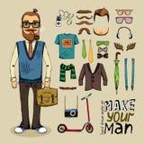 Retro stylowy mężczyzna set Fotografia Royalty Free
