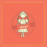 Retro stylowy oktoberfest plakat z dziewczyną i etykietka na czerwonym tle Piwny festiwalu wektor Illustration Obrazy Stock