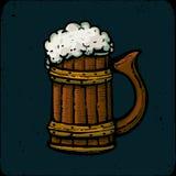 Retro stylowy piwnego kubka lub szkła rytownictwo Lokalny browar royalty ilustracja