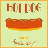 Retro stylowy plakat Hot Dog reklama Tylko klasyczny przepis ilustracji