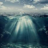 Retro stylowy podwodny krajobraz Zdjęcia Stock