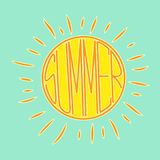 Retro stylowy wektorowy słońce logo dla twój projekta z ` lata ` literowaniem inside ilustracja wektor