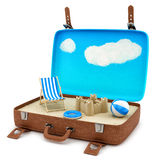 Retro suitcase with a beach Royalty Free Stock Images