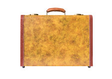 Retro suitcase of genuine leather stock photography