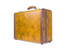Retro suitcase of genuine leather stock image
