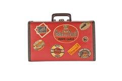 Retro suitcase. Retro mini suitcase Red and old Stock Photos