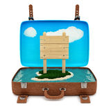 Retro suitcase with a sign Royalty Free Stock Photography