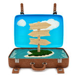 Retro suitcase with a sign Royalty Free Stock Photos