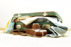 Retro suitcase for travel Stock Photography