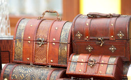 Retro suitcases. Brown old fashioned differnt  suitcase close up Stock Photos