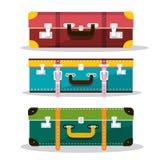 Retro Suitcases. Vector Suitcase Icons. Isolated on White Background. Luggage Symbols stock illustration