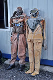 Retro suits for divers. In the museum Ranger, St. Petersburg, Russia royalty free stock image