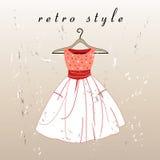 Retro suknia ilustracji