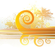 Retro summer. Vector illustration, sumer scene with abstract spiral waves, palms, etc royalty free illustration