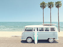 Retro summer at the beach. 3d rendering Stock Image