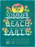Retro summer beach party poster design Stock Photos