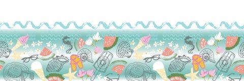 Retro summer beach vacation seamless horizontal border. Vector royalty free illustration
