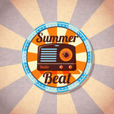Retro summer beat radio badge. Vector Stock Photo